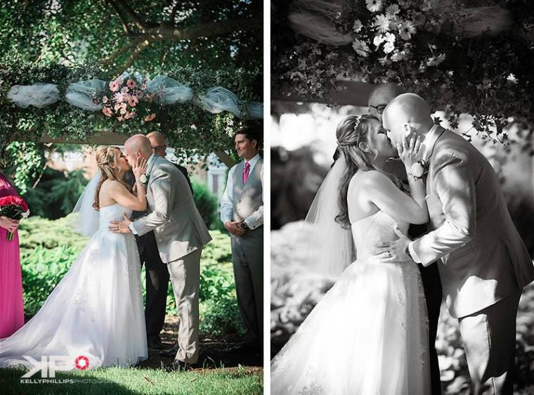 Kelly Phillips bride groom kiss