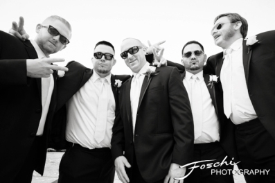 Foschi wedding pink groomsmen in sunglasses