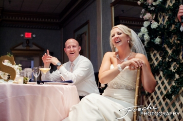 Foschi wedding pink laughing bride groom reception